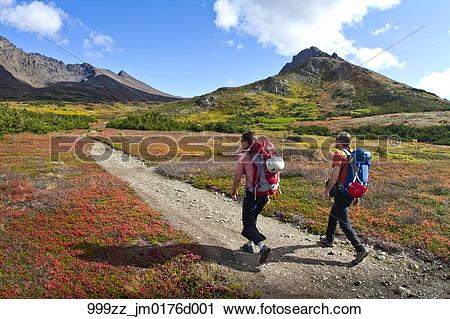 Stock Photography of Couple hiking into climb at The Wedge.