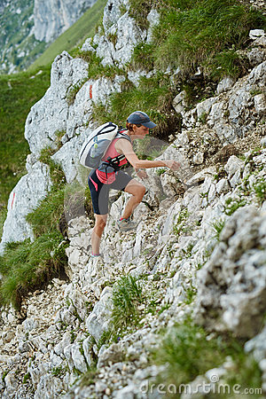 Steep Hike Stock Vector.