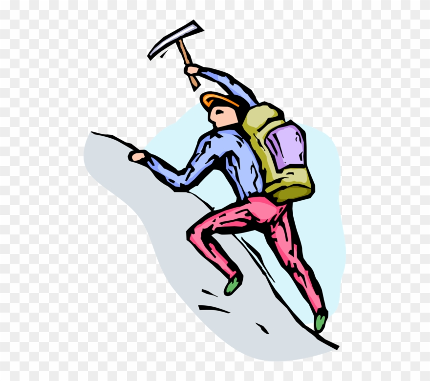 Vector Illustration Of Mountain Climber Climbs Rock.