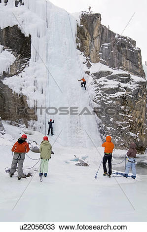 Stock Photo of Ice climbers at Cline River Canyon, Bighorn.