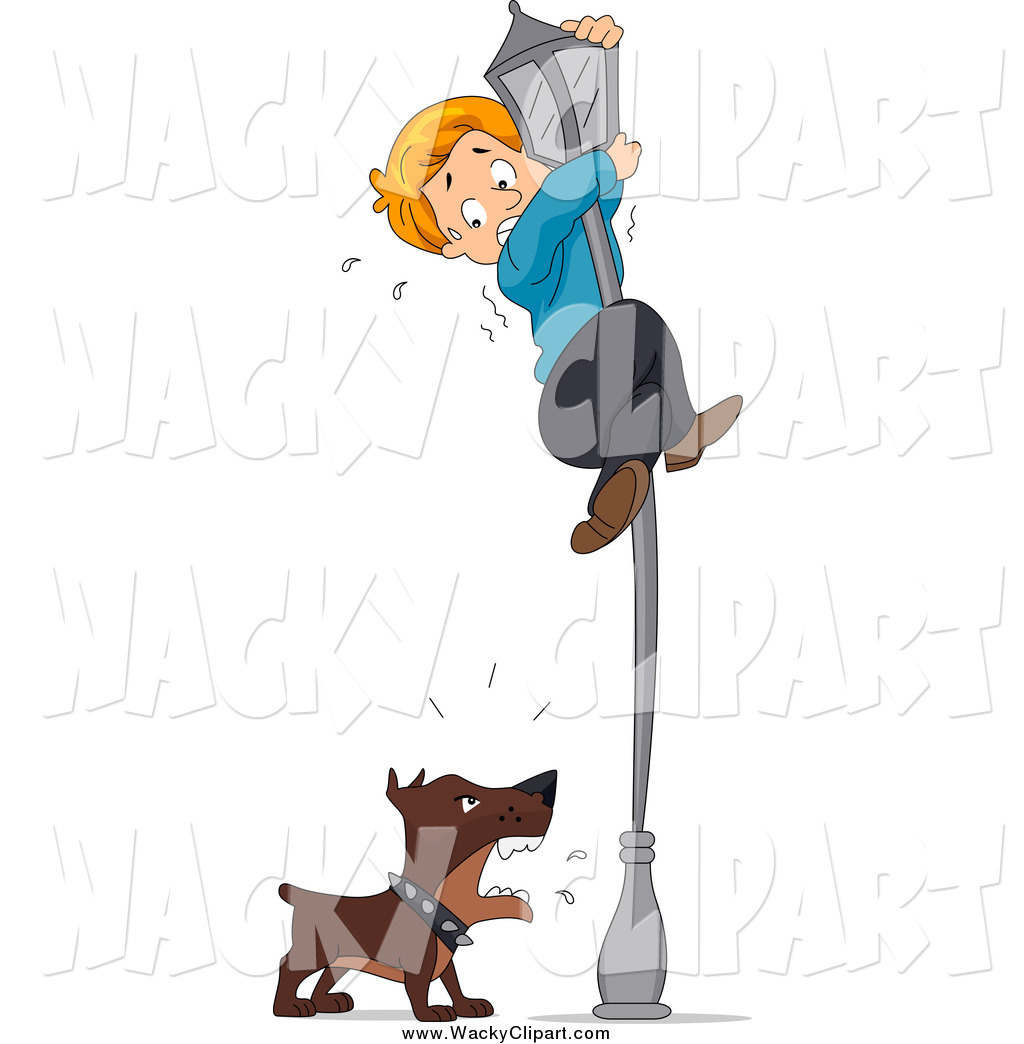 Clipart of a Dog Chasing a Scared Boy up a Light Pole by BNP.