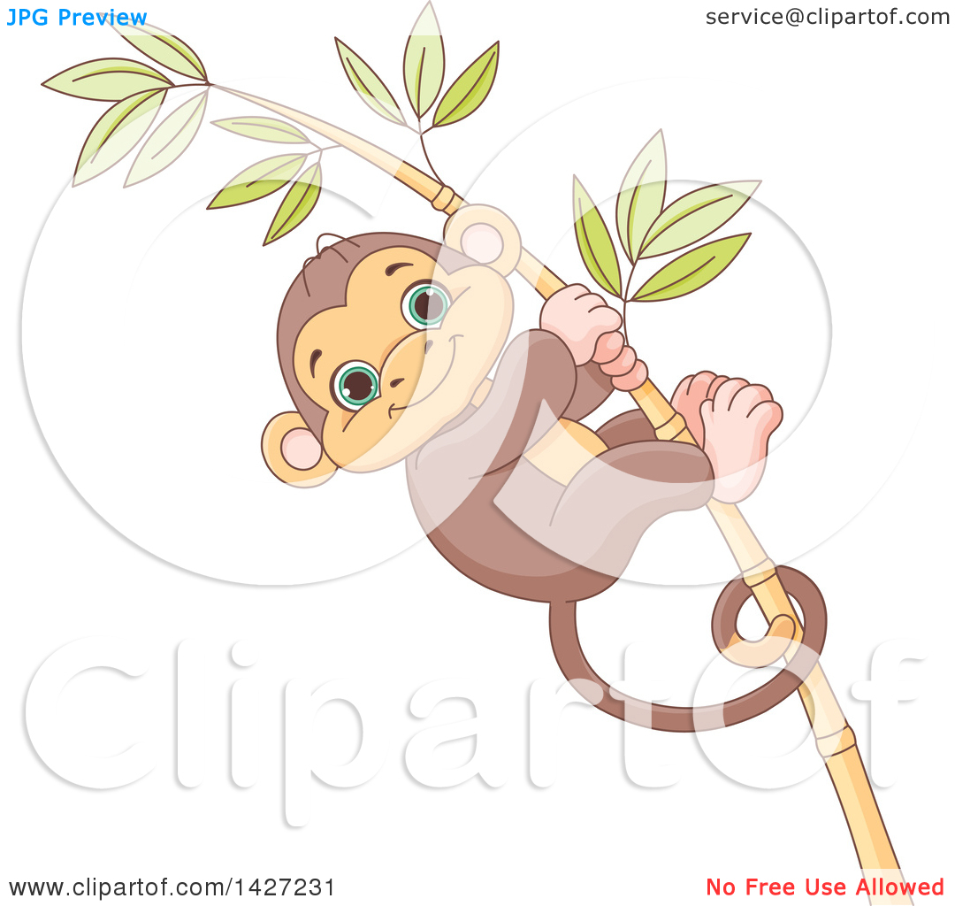 Clipart of a Cute Adorable Baby Monkey Clinging to a Bamboo Stalk.