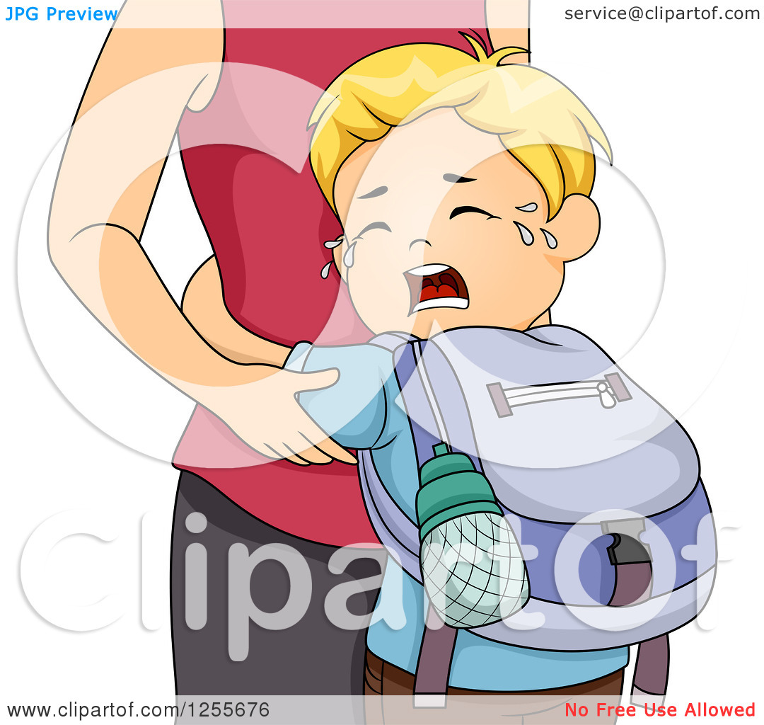 Clipart of a Blond White School Boy Crying and Clinging to His.