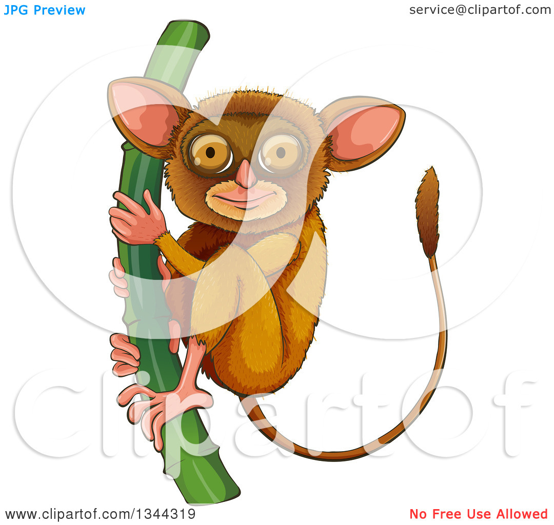 Clipart of a Cute Tarsier Clinging to a Stalk.