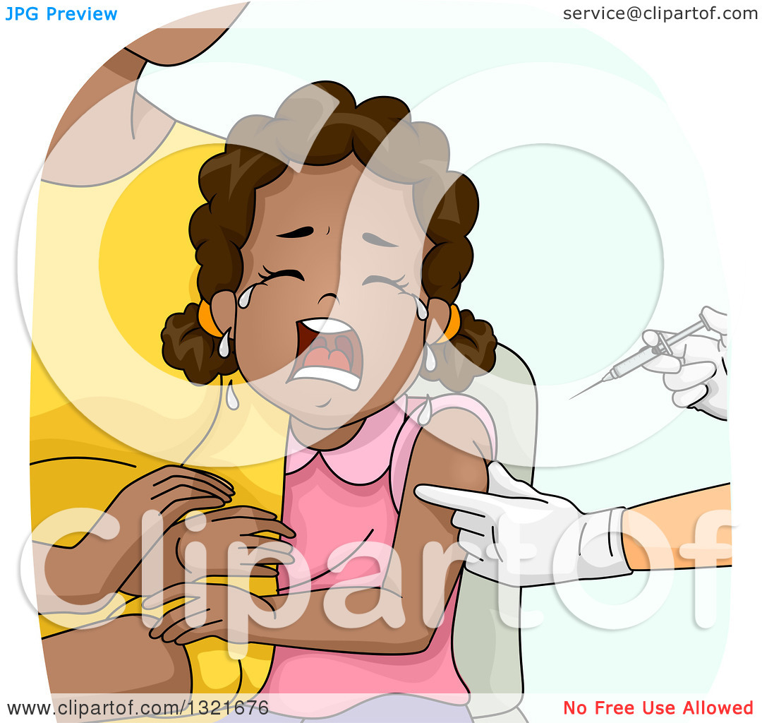 Clipart of a Scared Black Girl Clinging to Her Mother While.