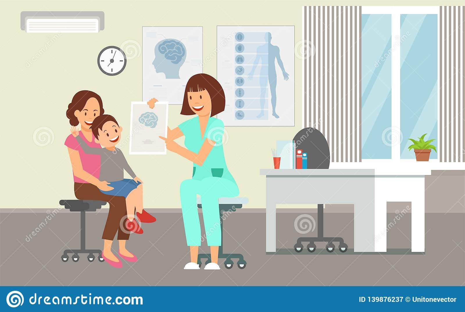 Pediatrics Service In Clinic Vector Illustration Stock Vector.