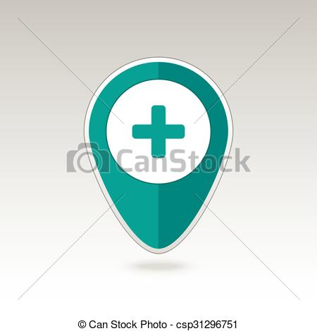 Clipart Vector of Plus, Hospital ,Pharmacy, Clinic pin map icon.