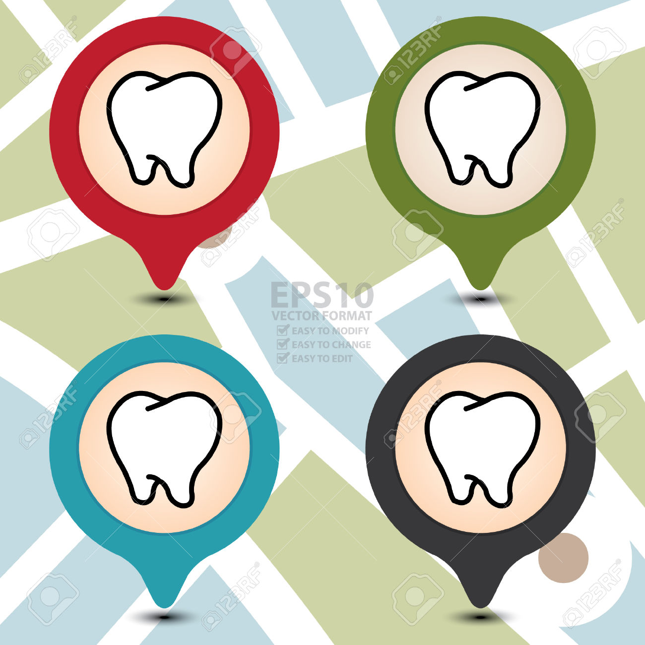 Vector : Map Pointer With Dental Clinic Or Tooth Icon Isolated.