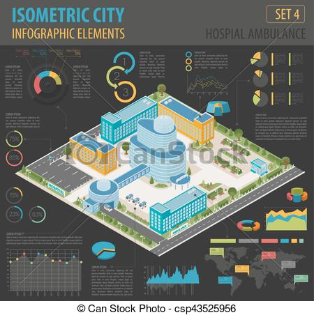 Clipart Vector of Flat 3d isometric clinic complex and city map.