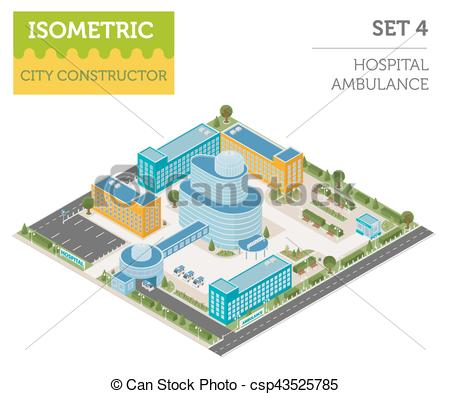 Vector of Flat 3d isometric clinic complex and city map.