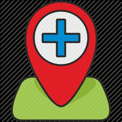 Clinic, geo, hospital, map, plus, poi, pointer icon.