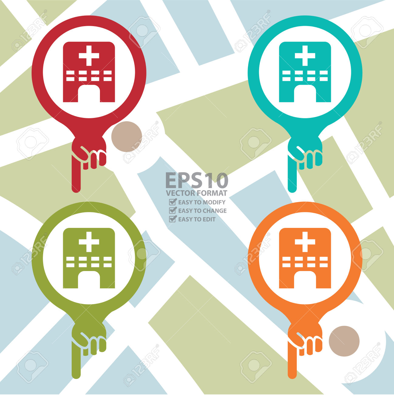 Colorful Map Pointer Icon With Clinic, Medical Center Or Hospital.
