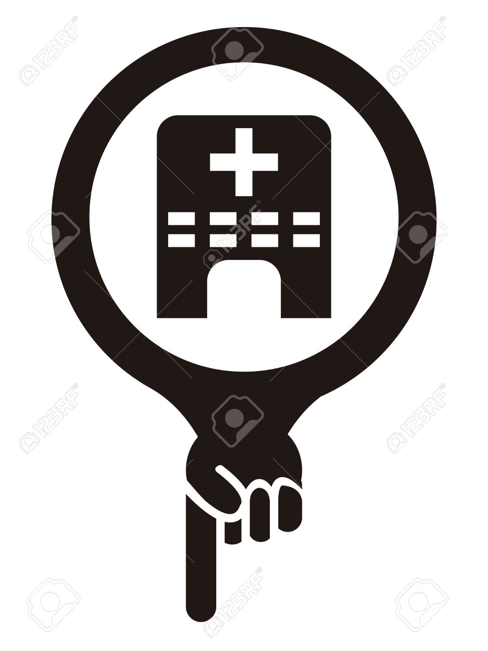 Black Map Pointer Icon With Clinic, Medical Center Or Hospital.