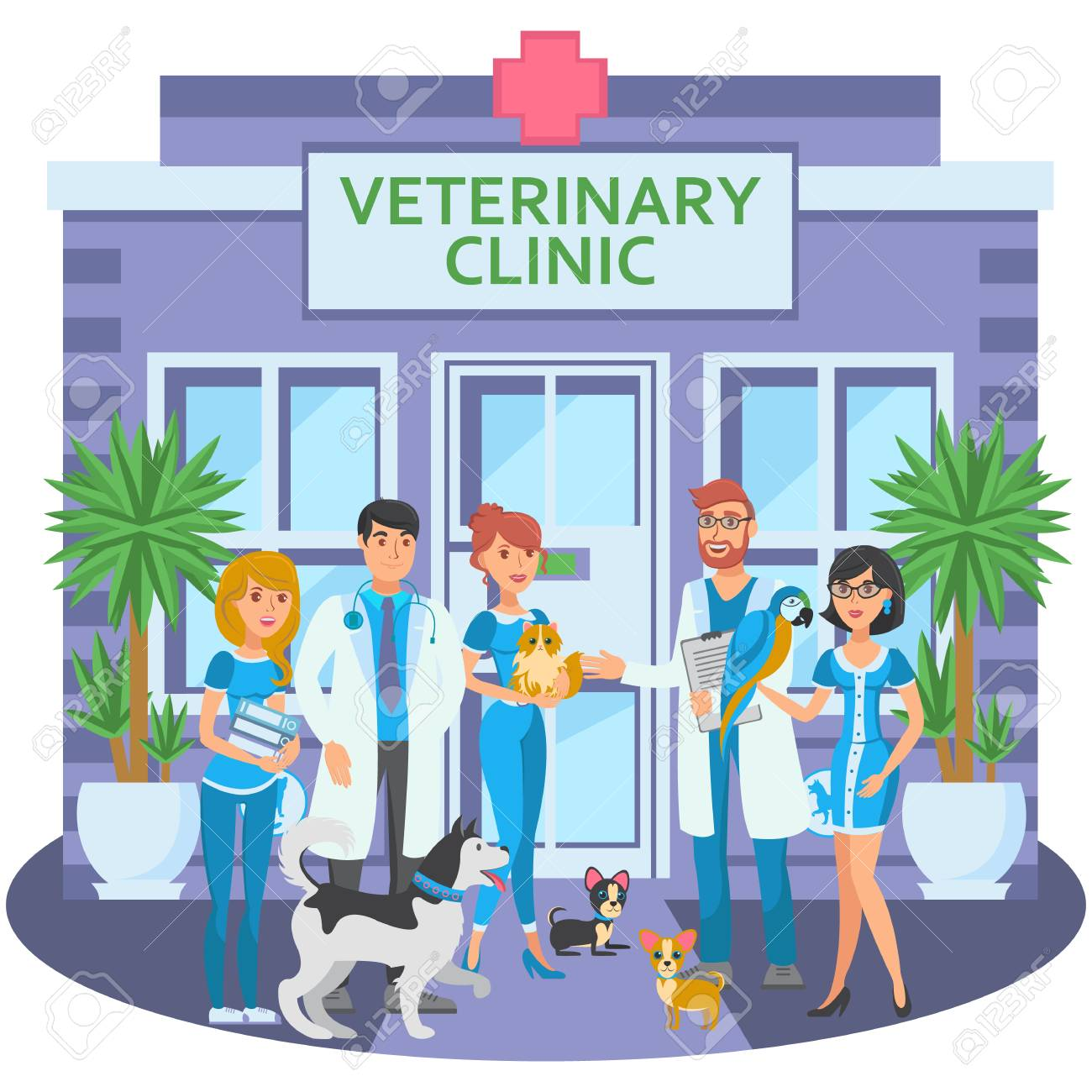 Cartoon group of joyful veterinarians with pets are at entrance...