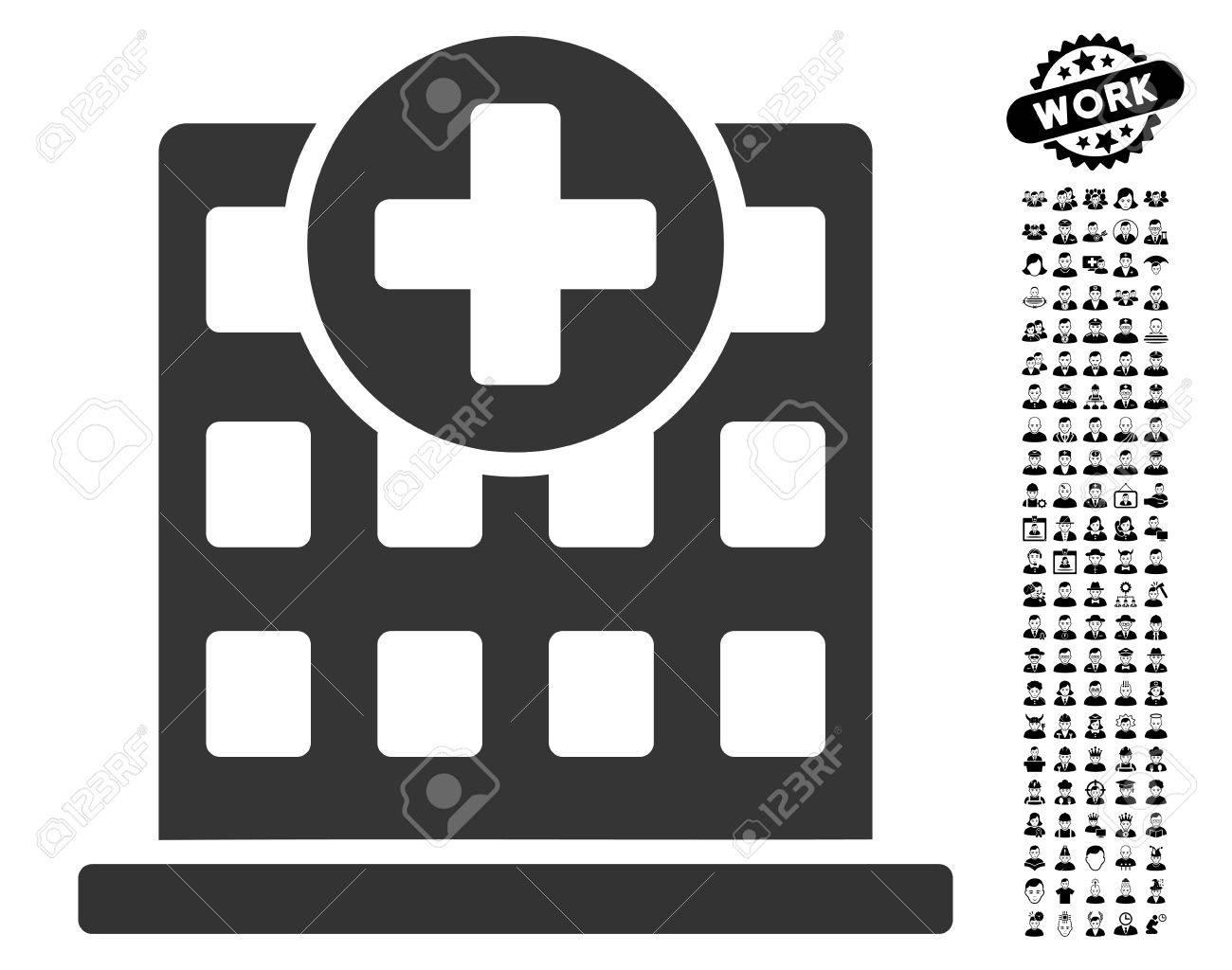 Clinic Facade icon with black bonus men clip art. Clinic Facade...