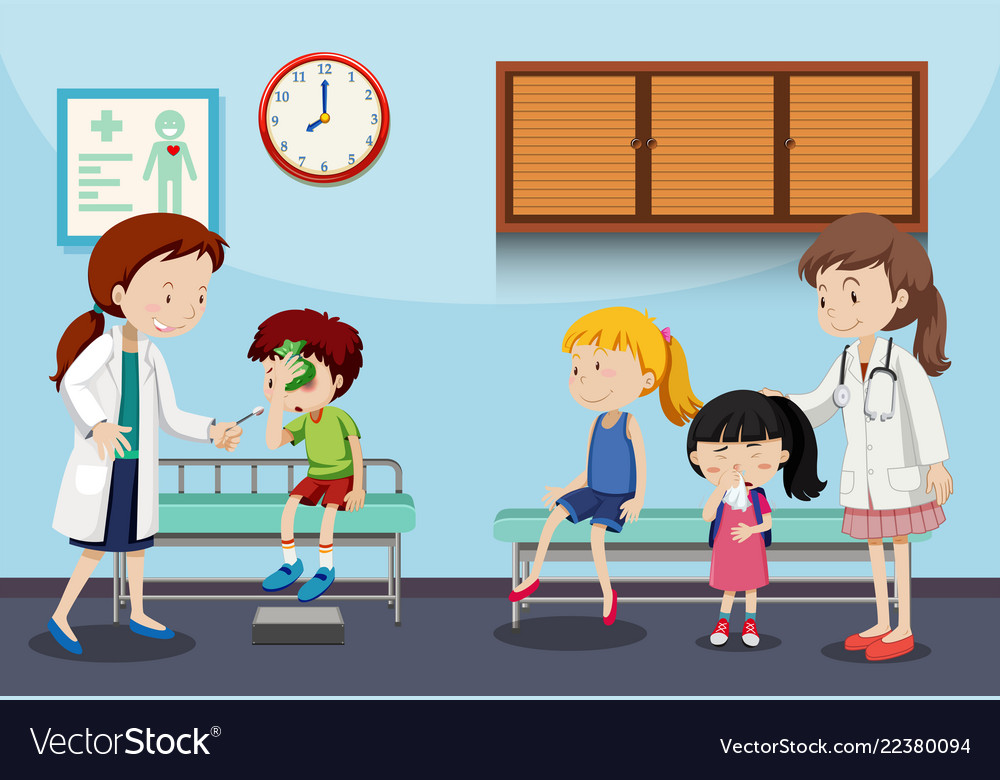 Children and doctors in clinic.