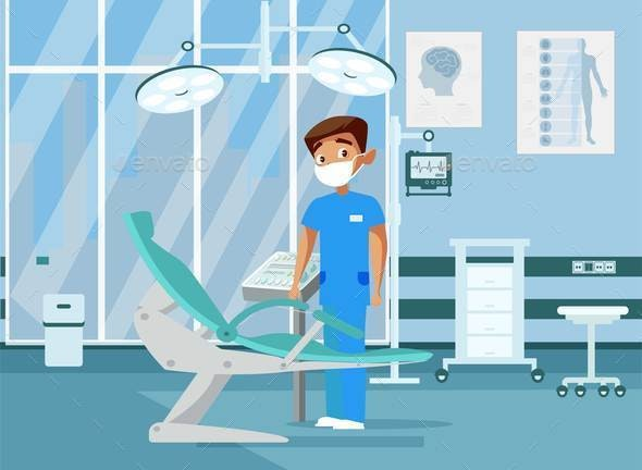 Doctor in Clinic Room Flat Vector Illustration.