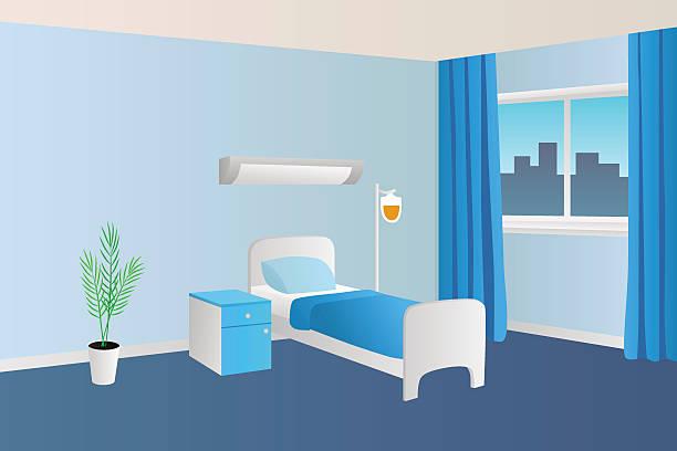 Hospital ward clinic room interior illustration vector.