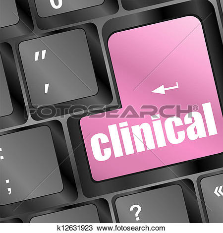 Drawing of clinical text on laptop computer keyboard k12631923.