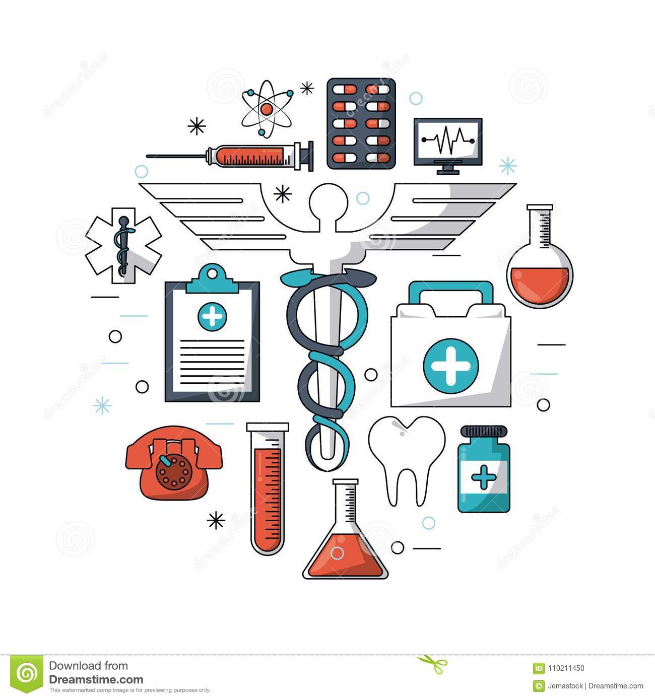 White Background With Colorful Set Of Medical Research Icons Stock.