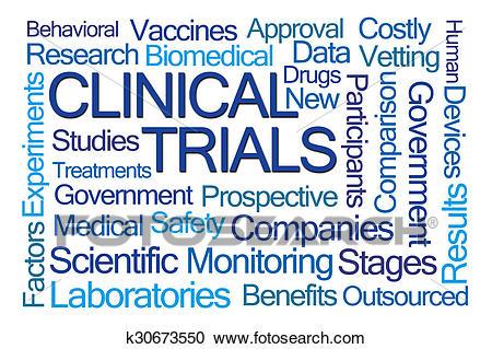 Clinical Trials Word Cloud Clipart.