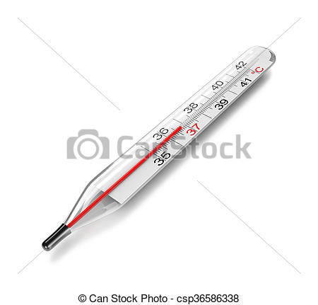 Drawings of Clinical Thermometer on White Background 3D.