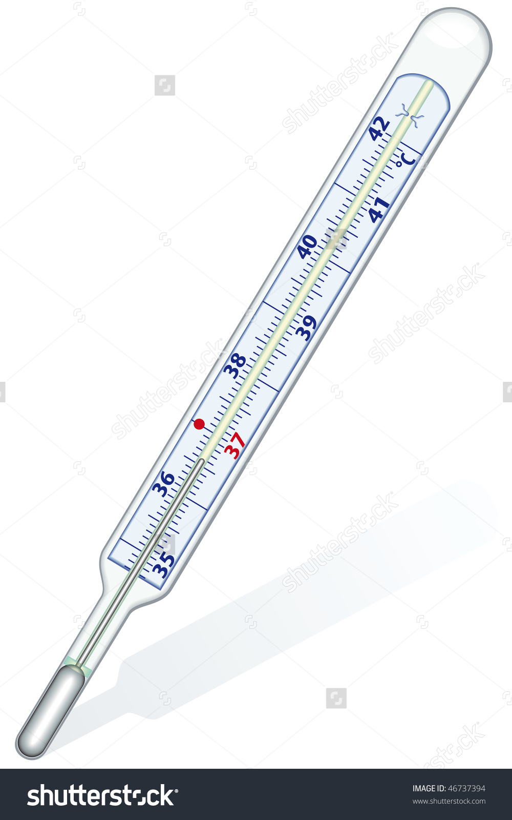Clinical Thermometer On White Background Blend Stock Vector.