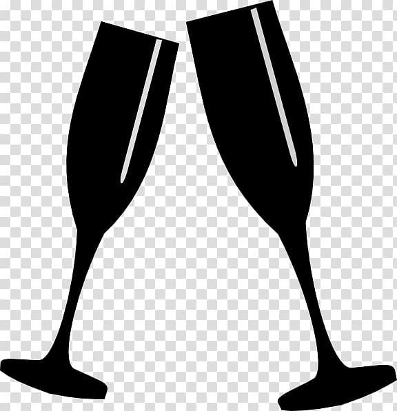 Champagne glass White wine, clink glasses transparent.