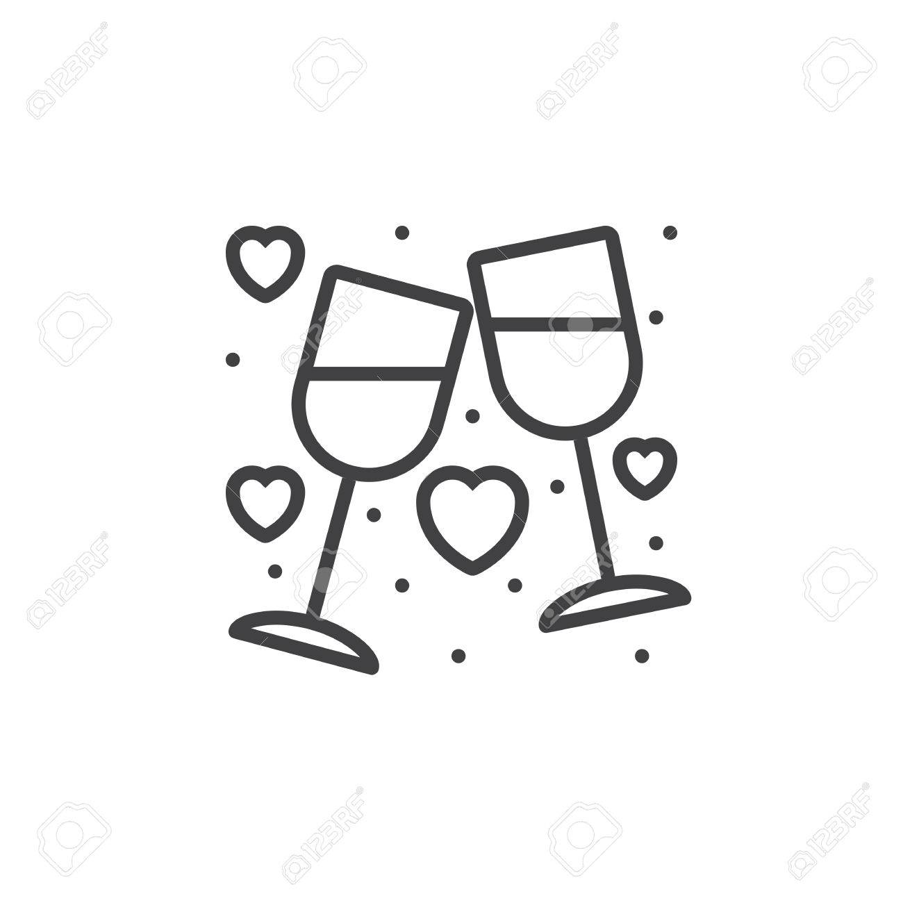 Clinking Wine Glasses, Stemware and hearts line icon, outline...