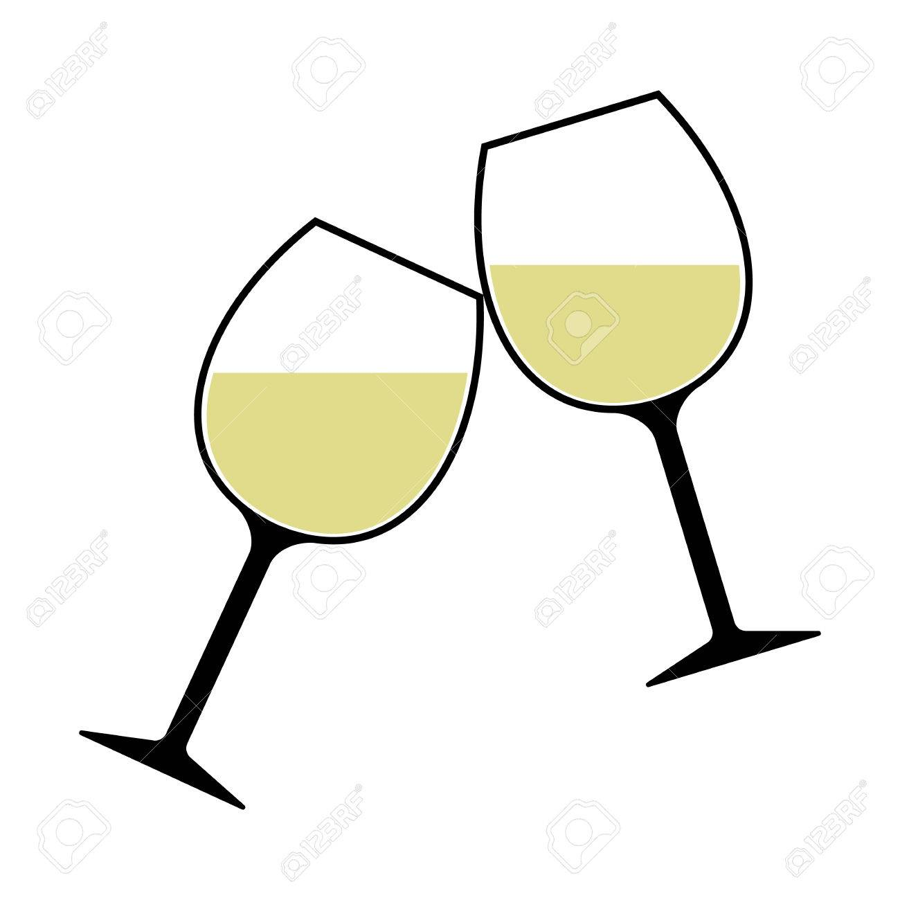 White Wine Glasses Clinking Vector Isolated.