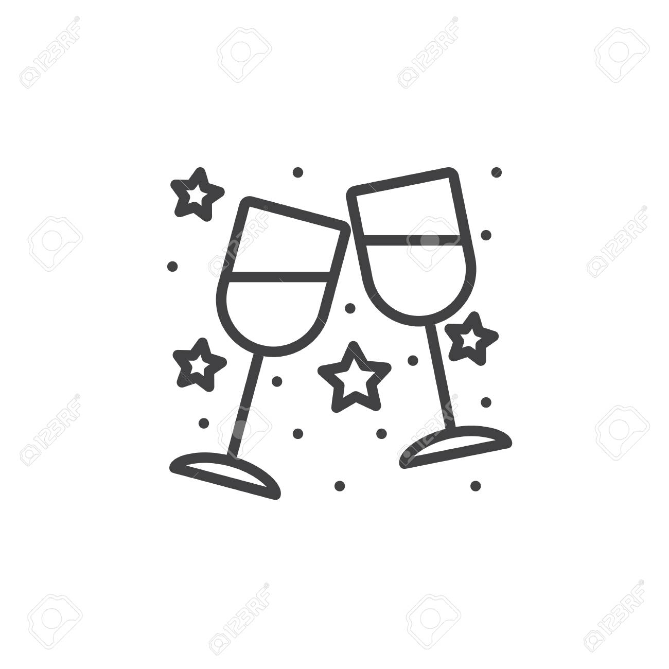 Clinking Wine Glasses, Stemware line icon, outline vector sign,...