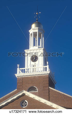 Stock Photography of Connecticut, Clock tower of the Town Hall.