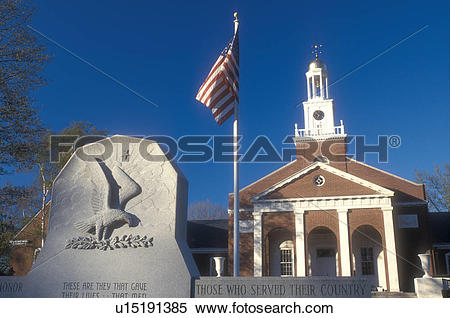 Stock Image of Connecticut, Town Hall, war memorial, and U.S. Flag.