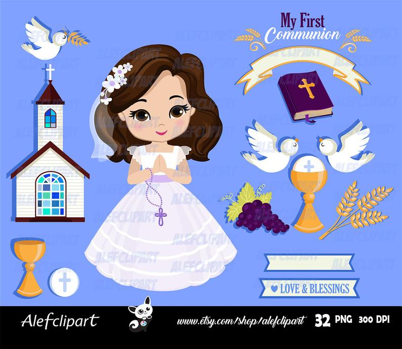 GIRLS FIRST COMMUNION Digital Clipart Set, My First Communion Clipart, 1St  Communion Clipart, Communion Girls..