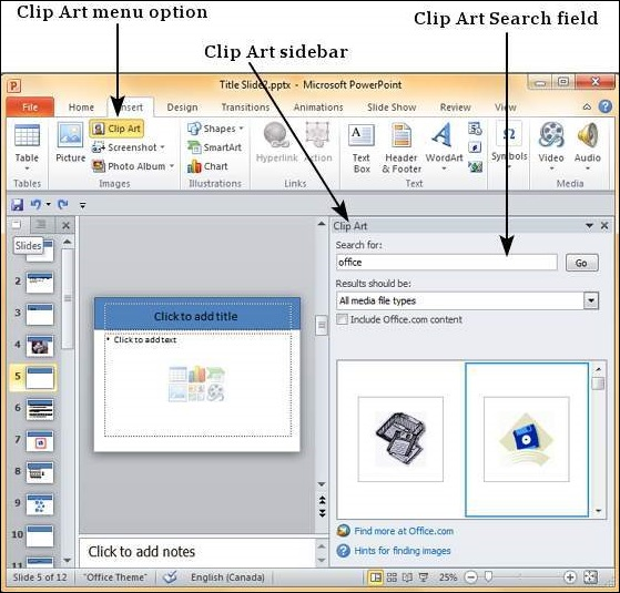 Add Pictures to Slide in Powerpoint 2010.