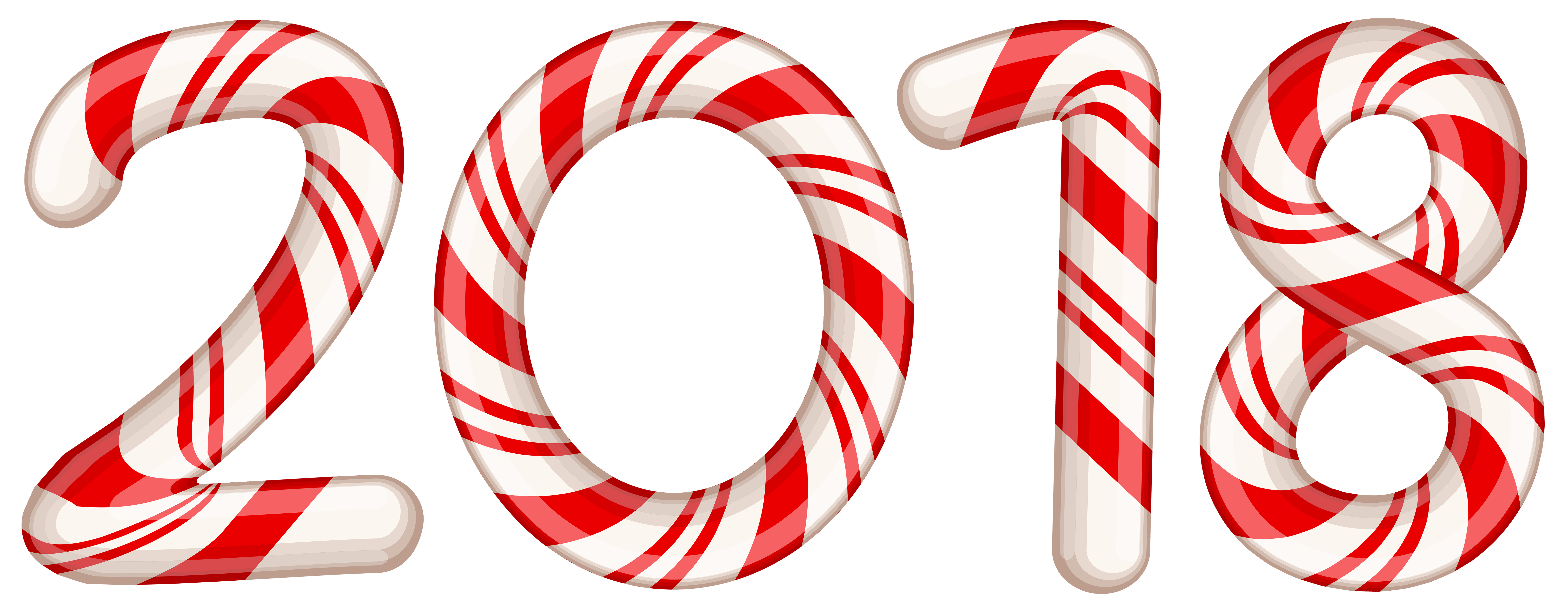 2018 Candy Cane Red PNG Clip Art Image.