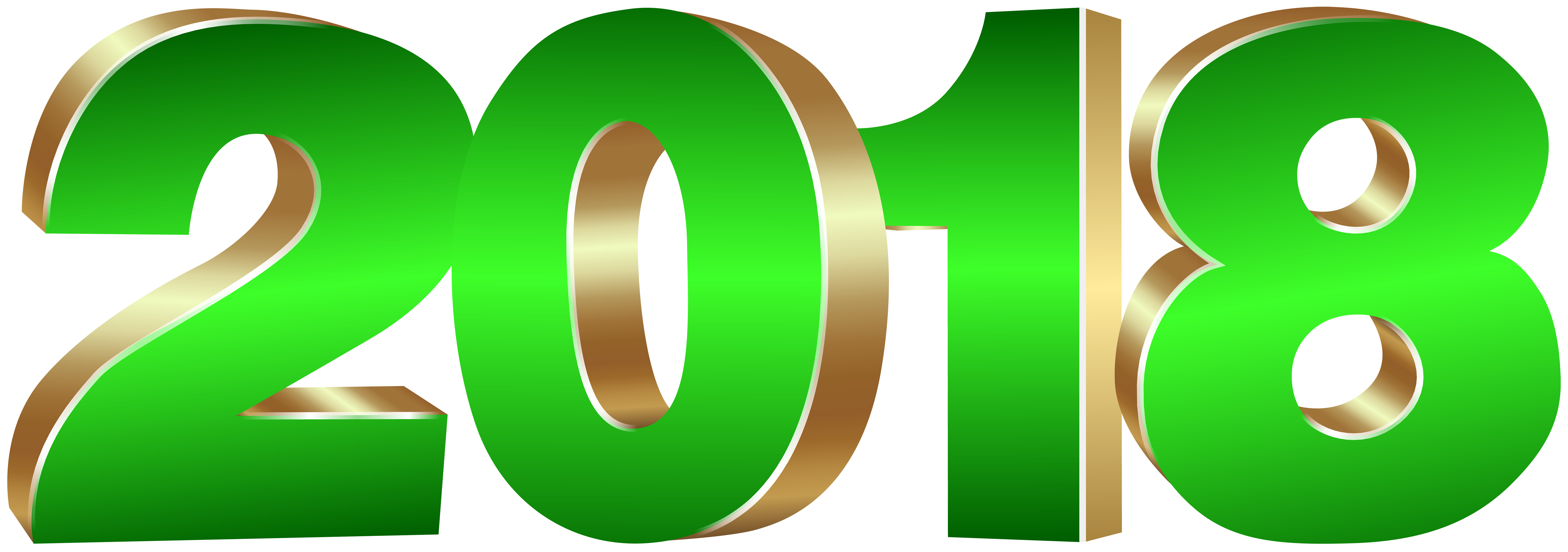 2018 Gold and Green PNG Clip Art Image.