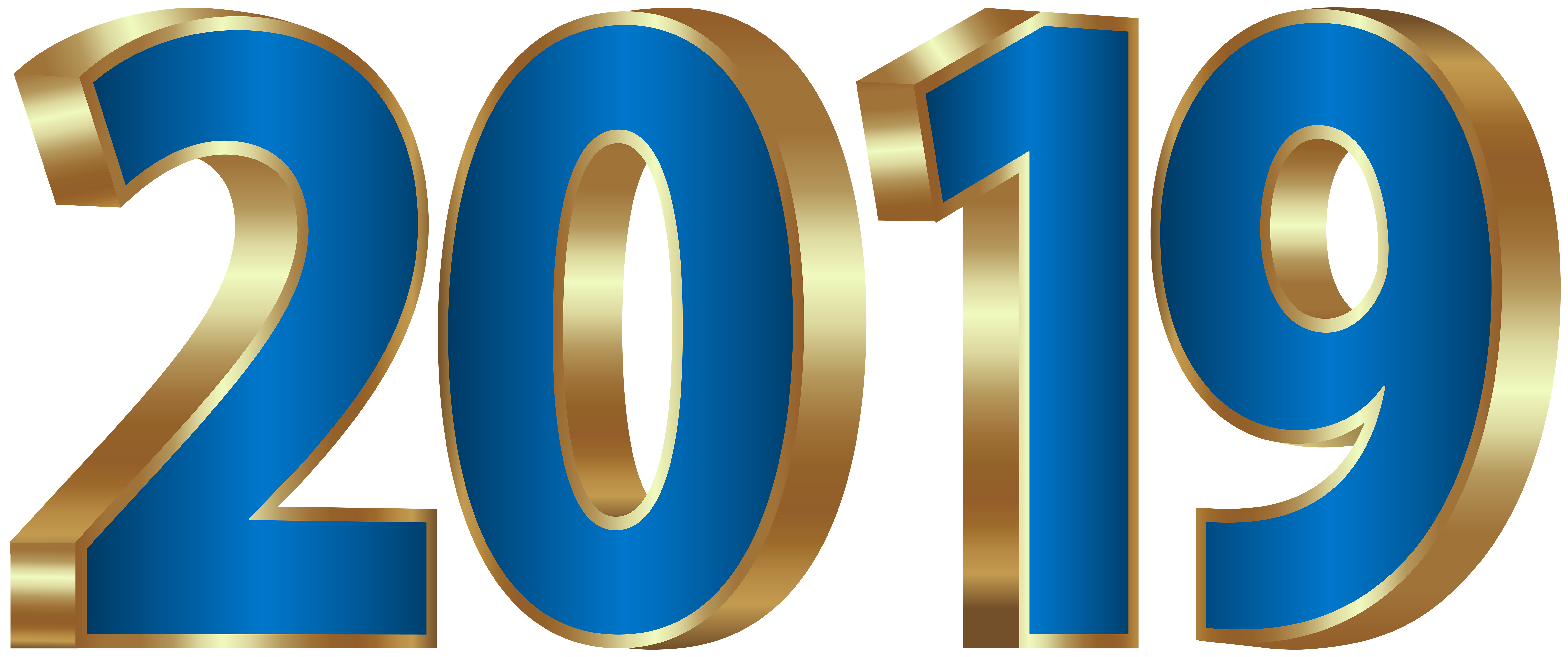 2019 Gold and Blue PNG Clipart Image.