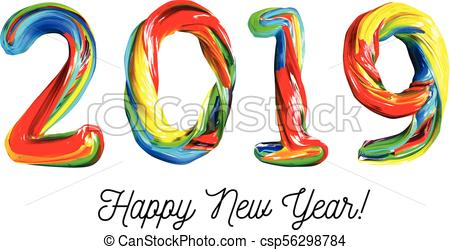 Colorful 3d text 2019. Congratulations on the new year 2019.