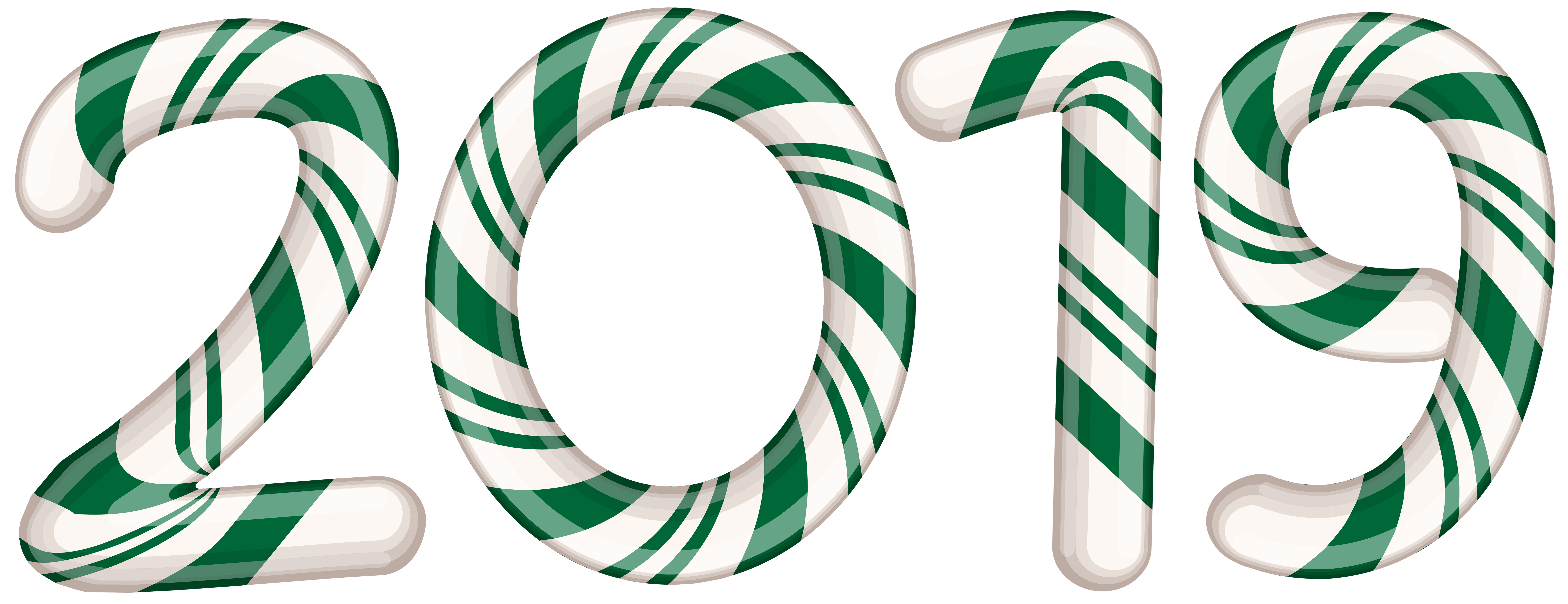 2019 Candy Cane Green PNG Clip Art Image.