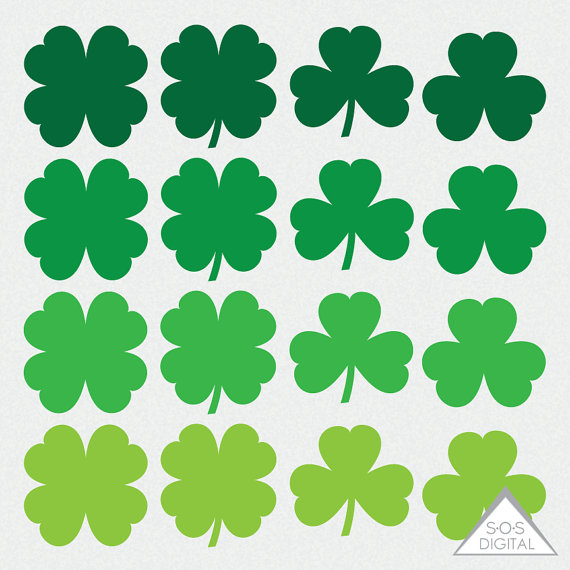 Shamrock Clipart, St. Patty's Day Clipart, St. Patrick's Day, Clover.