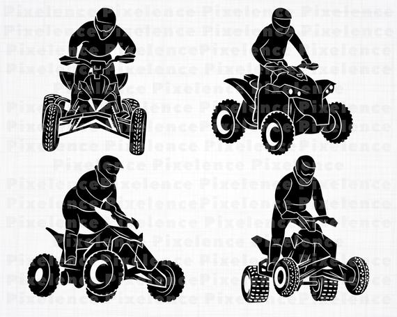 ATV Svg Files, 4 Wheeler Svg, ATV Motocross Svg, ATV Clipart, Cut Files For  Silhouette, Files for Cricut, Vector, Svg, Dxf, Png, Eps, Design.