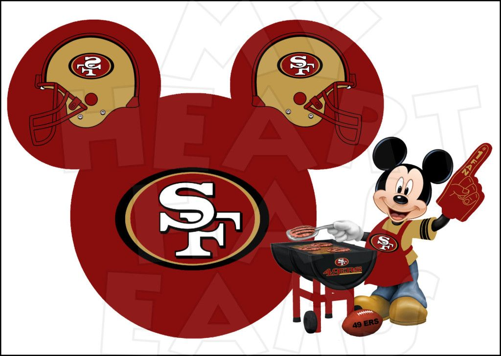 San Francisco 49ers with Mickey Mouse INSTANT DOWNLOAD digital clip.