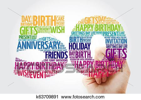 Happy 50th birthday word cloud collage Clip Art.