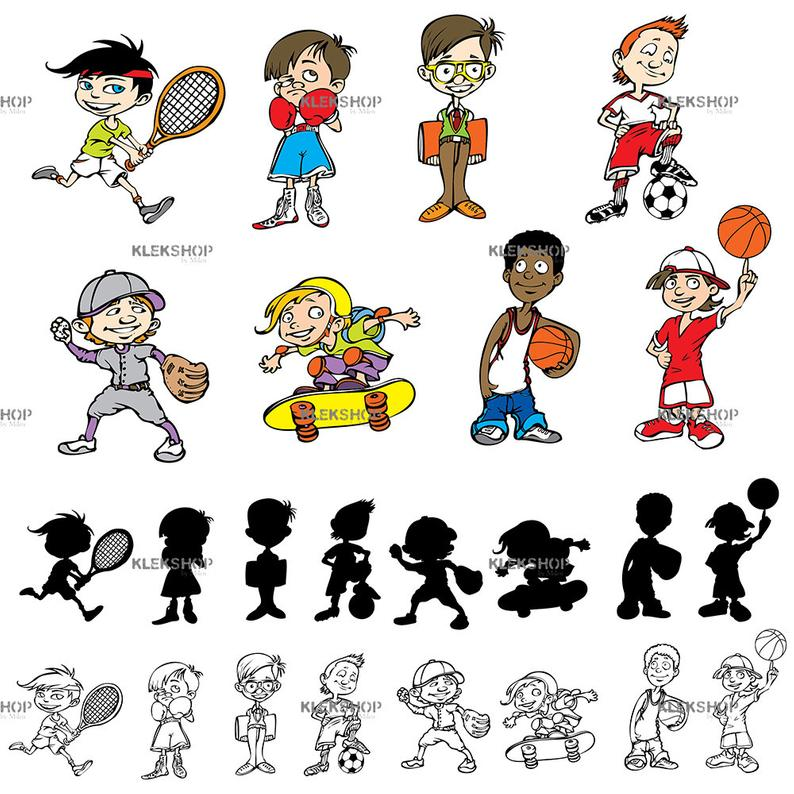 Boys Characters Action Kids Clip Art/Sport Set Clipart/Teens in  Action/Digital file/Editable Vector PDF and EPS + PNG, svg, dxf, jpeg Files.