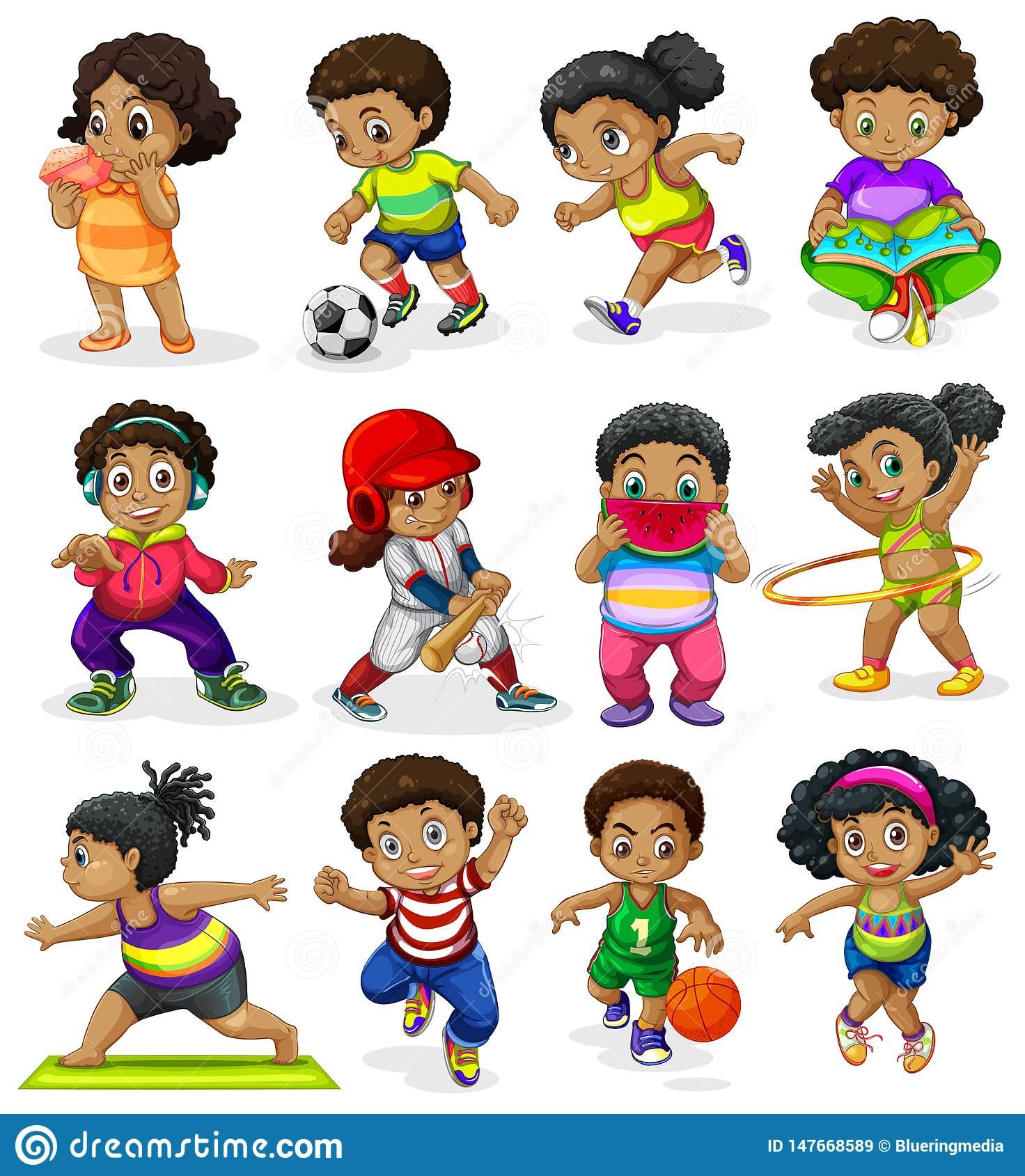 Set Of African American Kids Stock Vector.