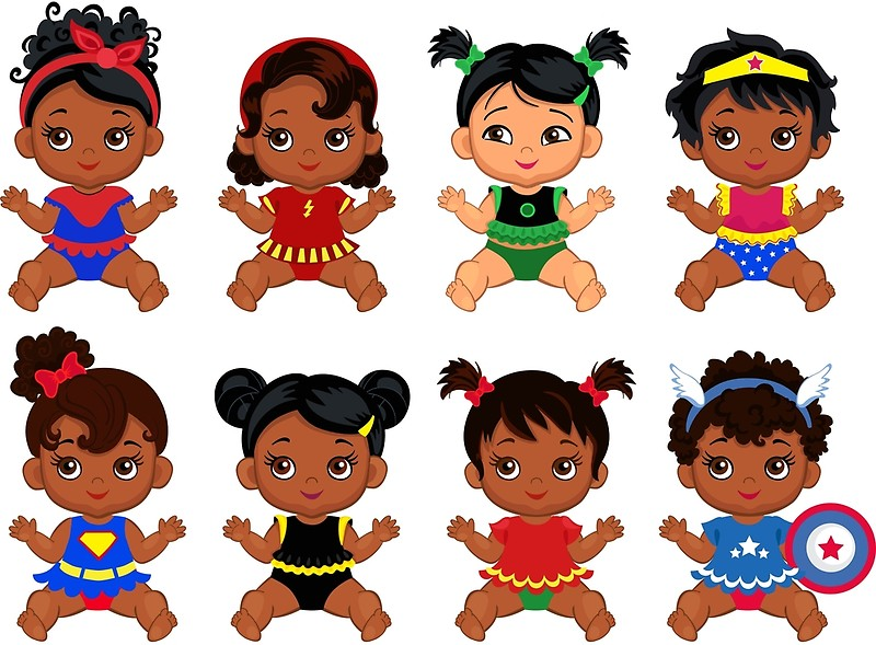 African American Superhero baby ,Superhero Multicultural Baby Costumes ,  SuperBaby Girls Clipart..