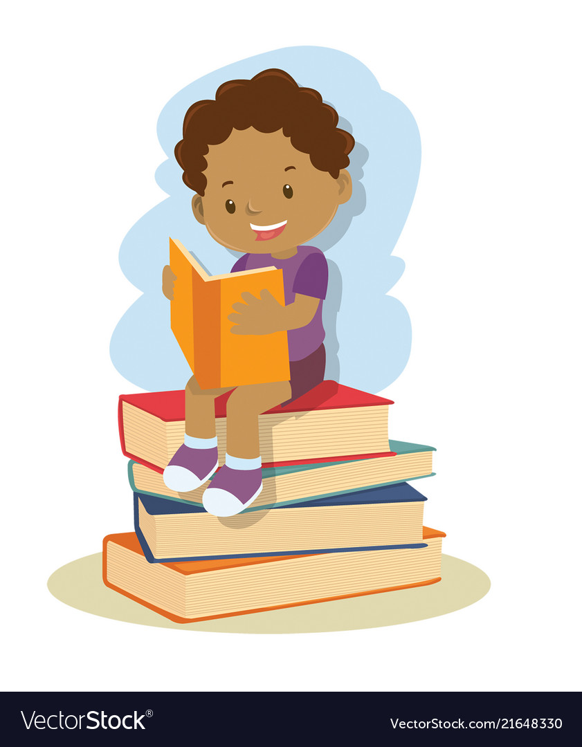 Small african american boy learning and reading vector image.