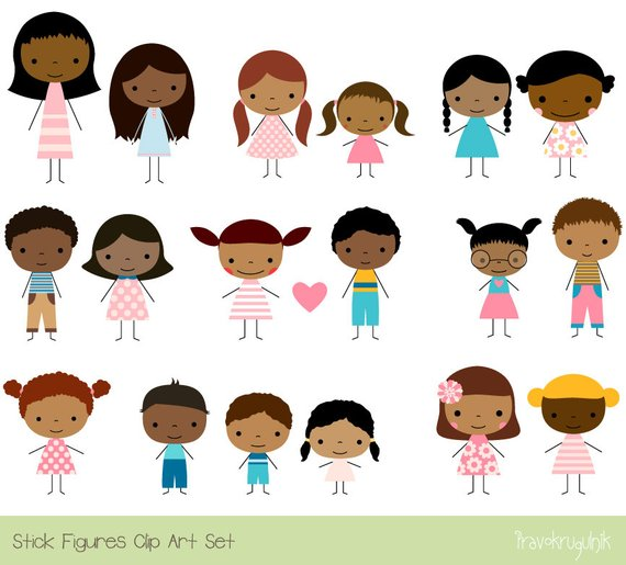 Cute Children Clipart, Multicultural clip art multiracial, Stick.
