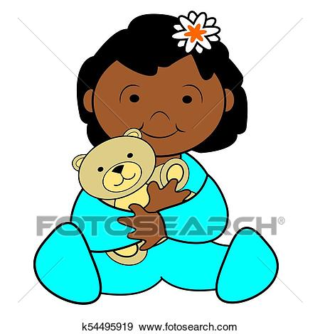 African American Toddler Clip Art.